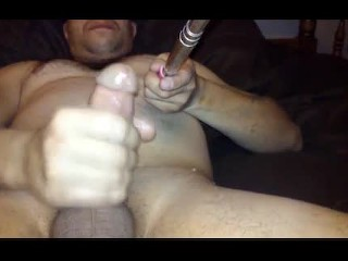 Jerking off with a selfie stick and cuming 3