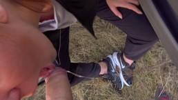 Sloppy POV Outdoor gagging Deepthroat. Shoe Worship. Nike Trailer