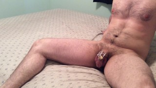 Locked chastity husband earns ruined orgasm while tied to chair  tease and denial chastity tease femdom handjob dominant wife dominant submissive chastity femdom cunnilingus handjob bondage cunnilingus orgasm amateur couple ruined handjob chastity cage ruined orgasm orgasm control