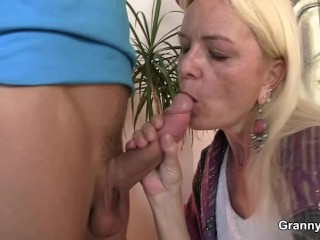 Old blonde granma rides his massive meat