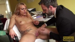 Pussy fingered brit enjoys rough treatment