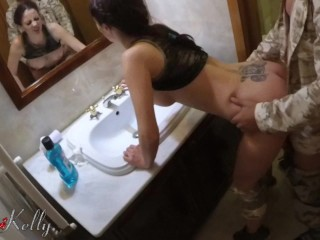 Amateur slut wife fuck in a toilet to a swingers party