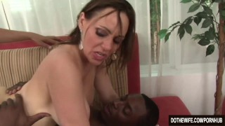 White wife pounded by 2 negros  creampie cuckold wife blowjob dothewife ass-fuck hardcore interracial brunette threesome anal raquel sieb housewife