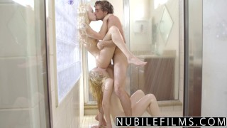 NibileFilms - Elsa Jean & Lily Rader Share Cock In Shower  shower sex big cock nubilefilms threeway blonde cumshot small tits skinny cock sucking babes deepthroat teenager doggystyle girl on girl cum in mouth tiny teen