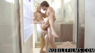 NibileFilms - Elsa Jean & Lily Rader Share Cock In Shower girl on girl big cock babes nubilefilms tiny teen threeway blonde cock sucking cumshot deepthroat cum in mouth shower sex small tits skinny teenager doggystyle