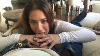 POV BJ  close up homemade bj amateur blowjob cfnm cumshot pov brunette orgasm natural tits selfshot homevideo