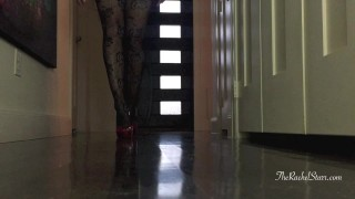 Rachel Starr puts on tights and red pumps