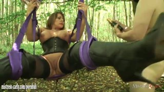 Hot horny mistress orders cuckold slave to watch her fuck a real big cock  submissive slave bdsm outside cuckold pussy-licking mom amateur outdoor-sex nylons mistress-carly mother humiliated mistress