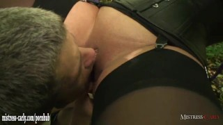 Hot horny mistress orders cuckold slave to watch her fuck a real big cock  mother humiliated mistress nylons slave bdsm outside cuckold submissive mom amateur