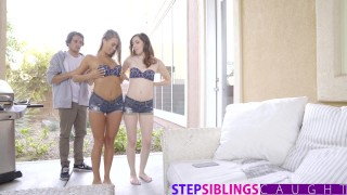 StepSiblingsCaught - My Bratty Step Sisters Just Want To Fuck!  fucks riding redhead siblings threeway cumshot skinny sister young stepsiblingscaught babes brother doggystyle step stone ember