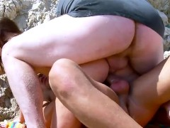 Cute french brunette gets double penetration at the beach