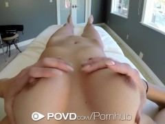 POVD Brunette Kara Faux stretches out her pussy for incoming dick