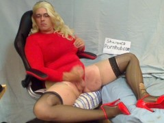 Sharon CD clit and then cock orgasms solo