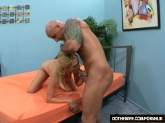 Blonde wife sucks big cock into her mouth and pussy in front of her husband