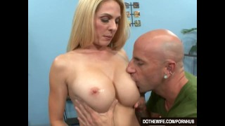 Blonde wife sucks big cock into her mouth and pussy in front of her husband  hardcore milf couples housewife angela atteson dothewife cuckold pussy-licking cumshot wife blowjob