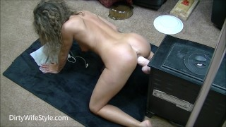 Hot brunette fucks huge dildo doggystyle on her knees ass dildo feet doggie style milf wife sexy fuck masturbate amateur hot home made big toy doggy style adult toys