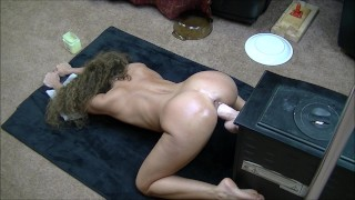 Hot brunette fucks huge dildo doggystyle on her knees  doggy style big toy ass home made dildo wife sexy masturbate amateur hot milf fuck feet adult toys doggie style