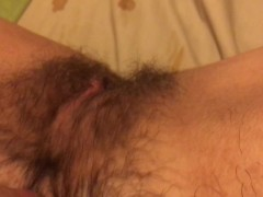 Hairy Babe Needs to Show Off Soaking Pussy