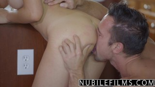 NubileFilms - Hot Daughter Fucks Moms Boyfriend nubilefilms young hardcore melissa moore blowjob riding babe cumshot natural-tits cock-sucking brunette big-dick titty-fuck busty doggystyle