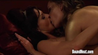 Enslaved Girl Pleasures Madame With Strapon And Fingers  strapon slave femdom lezdom kink lesbian girl-on-girl butt european mistress orgasm lesbian orgasm lesbian sex boundheat lesbian strapon