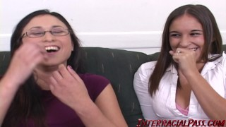 Sakura's asian pussy gets stretched out while her GF watches! bbc interracialpass doggy-style blackzilla asian amateur massive black cock big-cock glasses black dick natural-tits public small-tits brunette reality