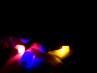 Male masturbation in colored lights
