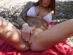 Felicity Feline outdoor blowjob and masturbation with park ranger