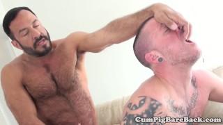 Bottom barebacked by bear while jerking