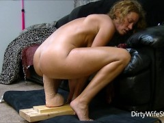 Horny babe rides and fucks a brutal monster dildo to make her pussy happy