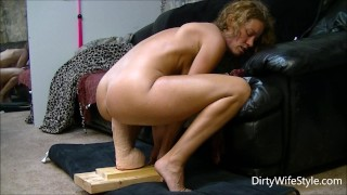 Horny babe rides and fucks a brutal monster dildo to make her pussy happy  ass riding huge wife masturbate hot milf feet dildo ride adult toys big brutal dildo monster dildo