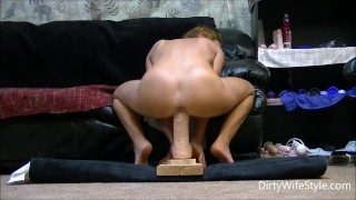 Horny babe rides and fucks a brutal monster dildo to make her pussy happy  ass riding dildo ride huge wife masturbate hot big milf monster dildo feet brutal dildo adult toys