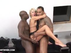 Interracial Threesome Mature Blonde D...