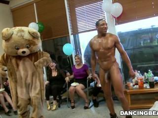 Alaina's dancing bear birthday fiesta with big dick male strippers