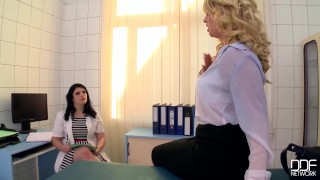 Preview 3 of Busty Blonde slut gets fisted hard in the doctors Office