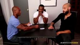 NextDoorEbony Hung Black Hunks Strip Poker 3Way!