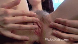 Alise strips naked and masturbates after work