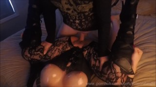 Oily Sticky Sexy - Tight Pussy Grips & Oiled Up Tits Black Boots & Fishnets