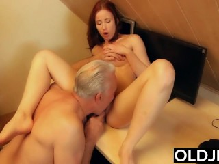 Young slut hard fucked by old horny man he fucks her pussy and licks clit