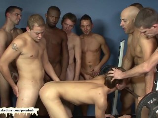 Bareback Gangbang and Facial Cumshots in the Gym for Bukkake Boy