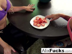 Lesbians spend their morning eating strawberries off each other