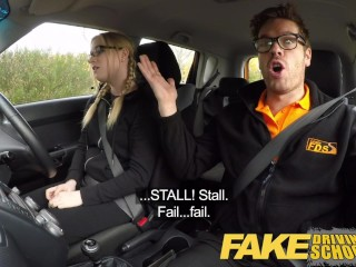 Fake Driving School Young college student takes a creampie for free lessons