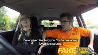 Fake Driving School Young college student takes a creampie for free lessons  driving instructor wet-pussy fuck creamy pussy british pigtails glasses funny blowjob pov english young hairy-pussy teen creampie grool fake taxi teenager blonde teen british teen