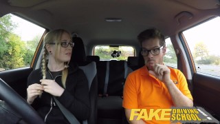 Fake Driving School Young college student takes a creampie for free lessons  wet-pussy fuck creamy pussy british pigtails glasses funny driving instructor blowjob pov english young hairy-pussy teen creampie grool fake taxi teenager blonde teen british teen