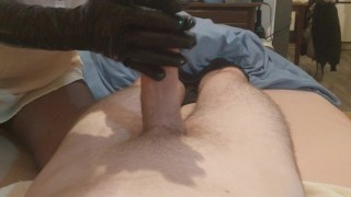 Nylon Footjob and Latex Gloves Handjob by Mistress Zaz  point of view foot femdom nylon cumshot cum handjob kink gloves footjob toes feet latex mistress