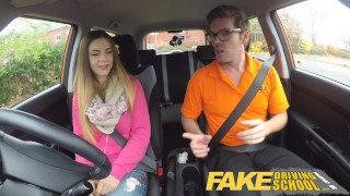 Fake Driving School full scene - Hot Italian learner with big natural tits  driving instructor young student fake taxi blowjob shaved choking big natural tits big boobs learning to drive car pov fakedrivingschool orgasm full scene funny