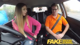 Stella Cox and Ryan Ryder Fake Driving School having sex in car.
