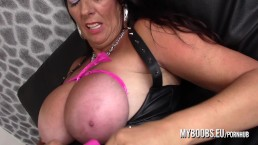 Busty Cougar Lulu Lush bondage her huge natural boobs and masturbate