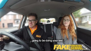 Fake Driving School readhead teen lets busty examiner have her way redhead 3some cum-inside milf spanking big-tits british choking ripped-leggings threesome lesbian creampie car fakedrivingschool reality fake-tits busty