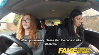 Fake Driving School readhead teen lets busty examiner have her way  ripped leggings spanking british choking big-tits creampie redhead fake-tits cum-inside busty milf lesbian car fakedrivingschool reality 3some threesome