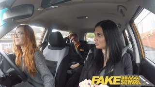 Fake Driving School readhead teen lets busty examiner have her way redhead 3some cum inside milf spanking big tits british choking ripped leggings threesome lesbian creampie car fakedrivingschool reality fake tits busty